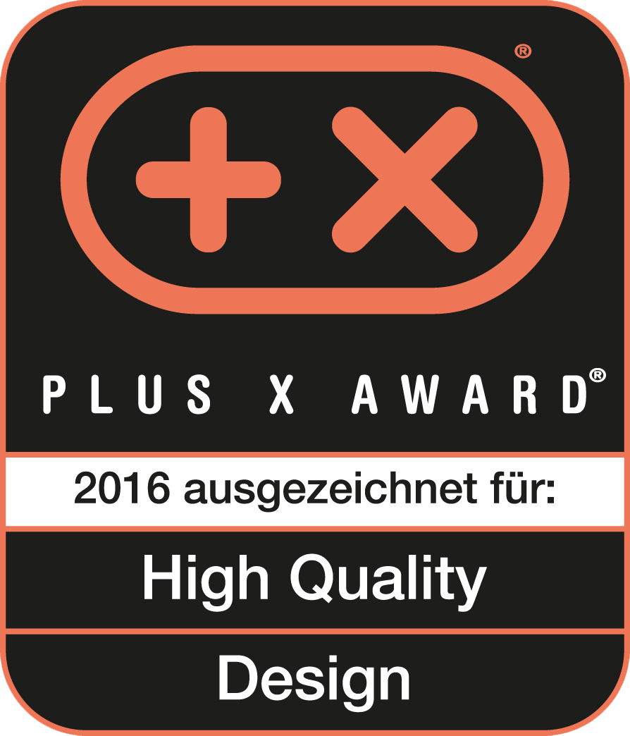 Received the Plus X Award for high quality, design
