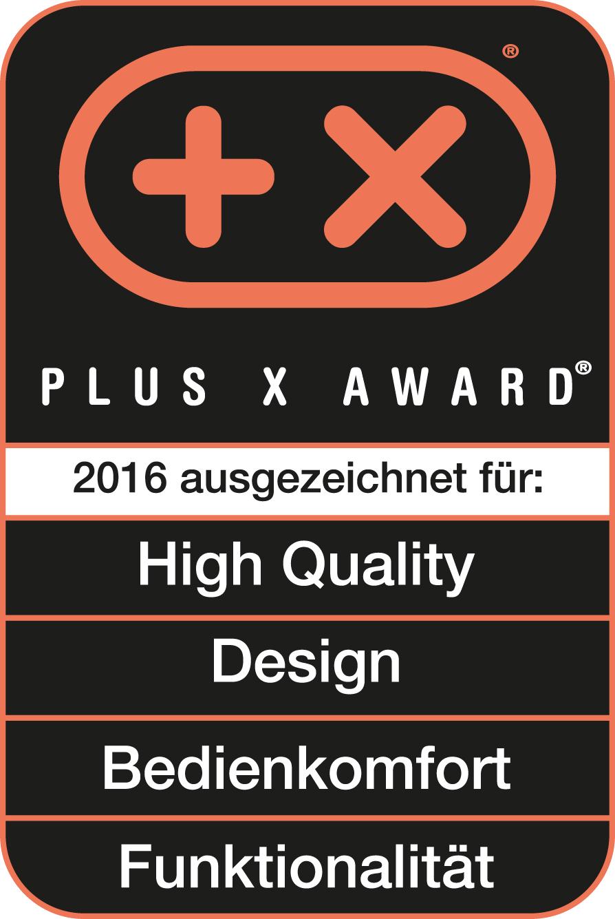 Riconoscimento Plus X Award per alta qualità, design, semplicità d'uso e funzionalità