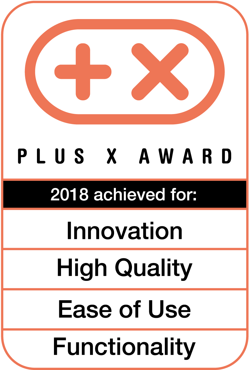 <p>Received the Plus X Award for high quality, design, ease of use, functionality</p>