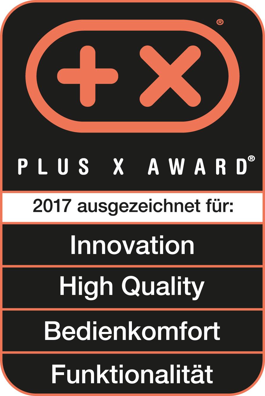 Produit récompensé par le prix Plus X Award dans les catégories Innovation, Haute qualité, Confort d'utilisation et Fonctionnalité