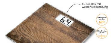 Beurer Glaswaage GS 203 Wood Produktbild