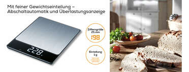 Beurer KS 34 XL Stainless Steel Küchenwaage Produktbild